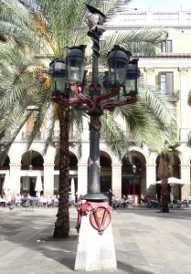 The colorful helmeted lampposts in Plaça Reial are functional and they're Antoni Gaudí's first public works""