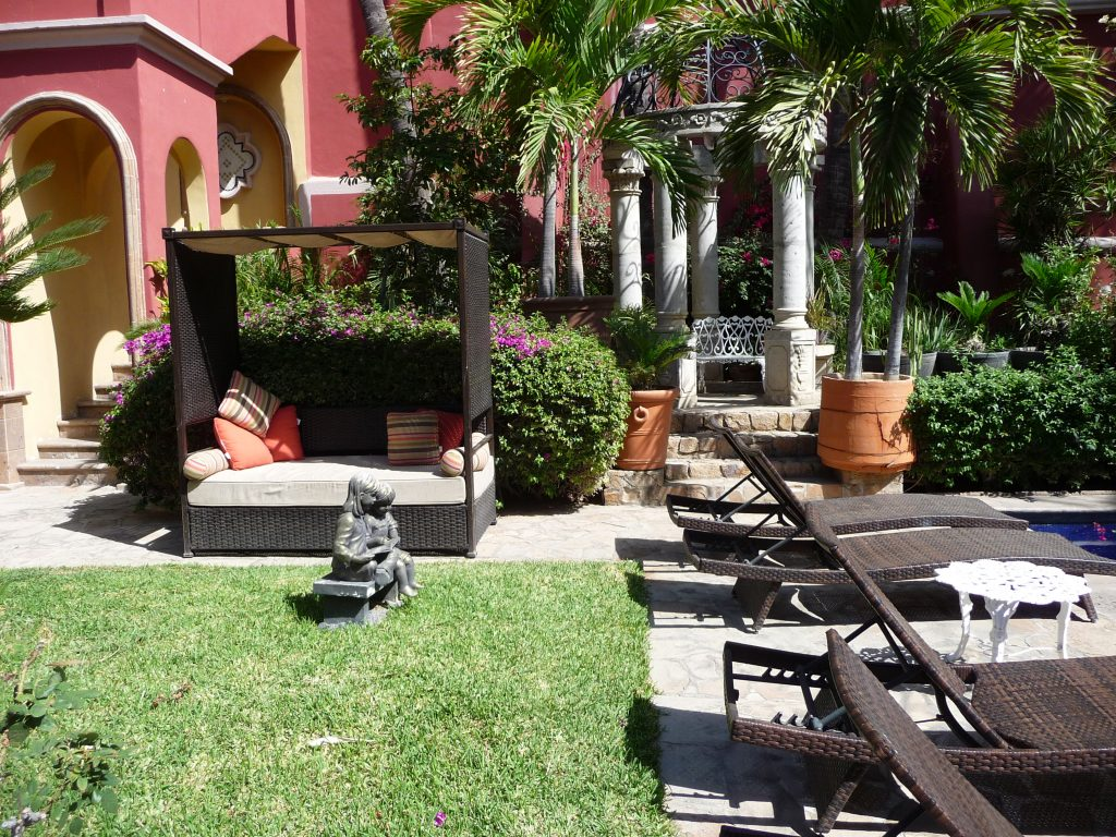 Peaceful garden setting at hotel